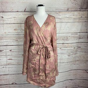 J.Jill Floral Kimono Wrap Mini Dress Sz XL Dusty R